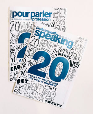 Professionally speaking magazine cover design hand lettering